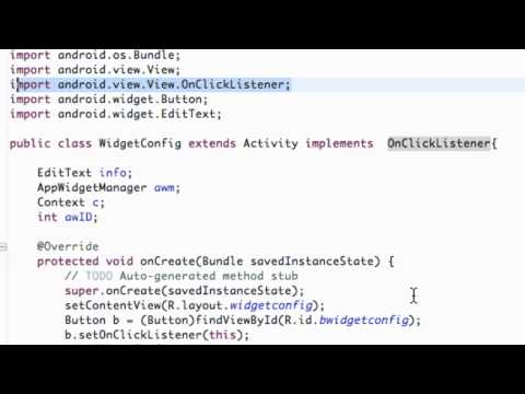 Android Application Development Tutorial - 165 - Setting up Widget Configuration Class