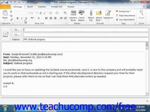 Outlook 2010 Tutorial Forwarding Messages Microsoft Training Lesson 3.11