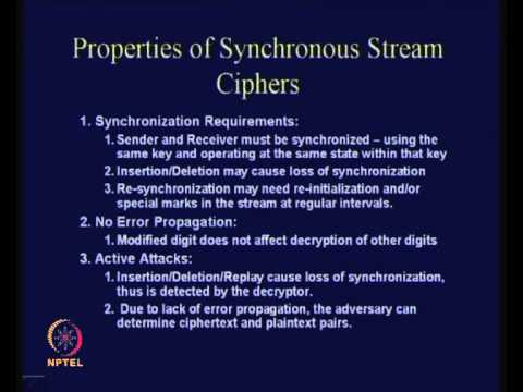 Mod-01 Lec-19 Stream Ciphers