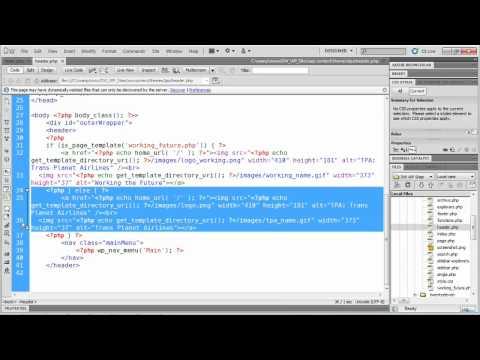 WordPress tutorial: Changing a template header with Dreamweaver | lynda.com tutorial