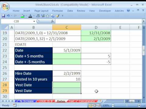 Highline Excel Class 12: DATE functions & Formulas