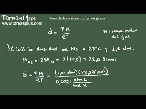 Aplicaciones de ecuación del gas ideal - Densidad y masa molar de gases