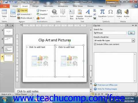 PowerPoint 2010 Tutorial Inserting Clip Art and Pictures Microsoft Training Lesson 5.1