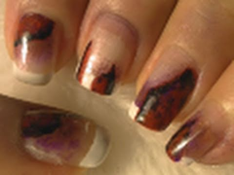 Ripped Up/Damaged Halloween Nail Art Tutorial / Arte para las uñas estilo roto