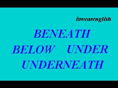 Below Under Underneath Beneath - ESL British English Pronunciation