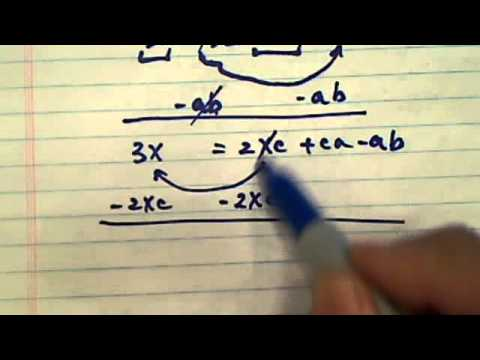 how to solve linear equation?? ( 3x + ab = c(2x + a))