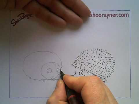 How to draw a cartoon hedgehog really easily - Shoo Rayner Drawing School