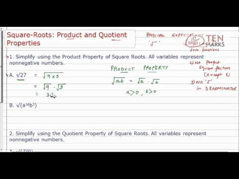 Product and Quotient Property of Square Roots