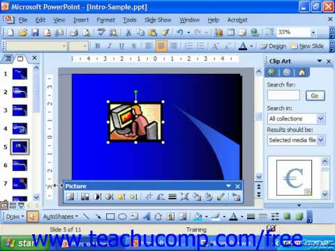 PowerPoint 2003 Tutorial Inserting Movies Microsoft Training Lesson 11.1
