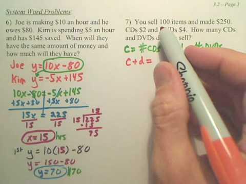 3.2c Solving Systems Algebraically - Algebra 2