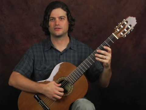 Classical guitar beginner fingerstyle lesson on good posture and A frame use on nylon string