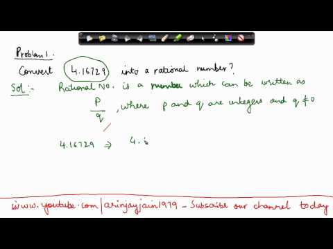 114-CBSE Math Class IX, ICSE Class 9 - Converting decimal numbers into rational numbers  - Problem 1