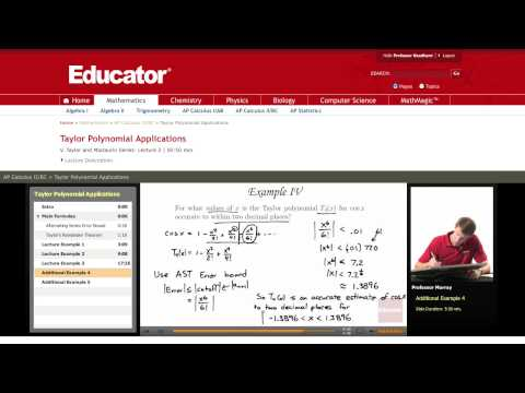 Calculus: Applications of Taylor Polynomials