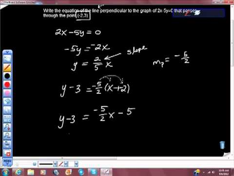 Find the Equation of the line Perpendicular to Graph Passing Through Given Point