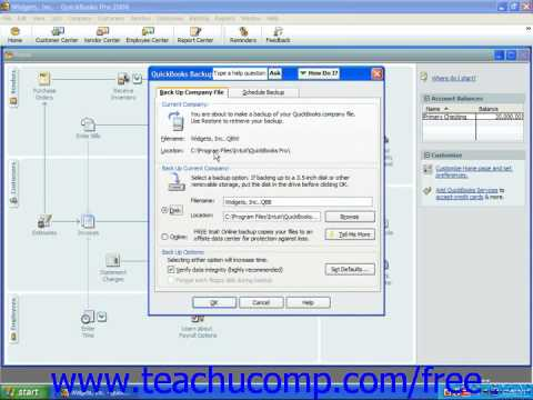 QuickBooks 2006-2003 Tutorial Creating a Backup File Intuit Training Lesson 2.7