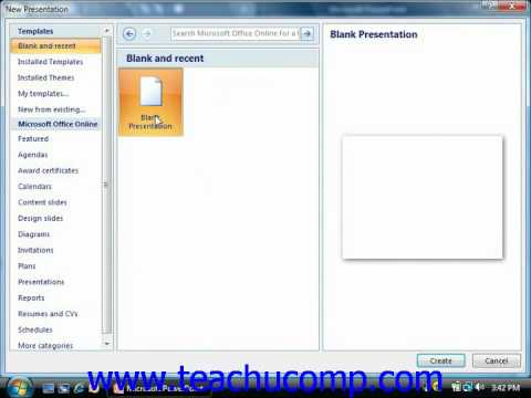 PowerPoint Tutorial Creating a New Presentation Microsoft Training Lesson 2.3
