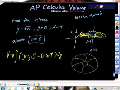 AP Calculus AB Volume of Revolution about x equals 6 Washer Method