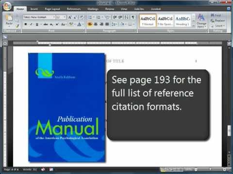 APA Format Citations-Sixth (6th) Edition