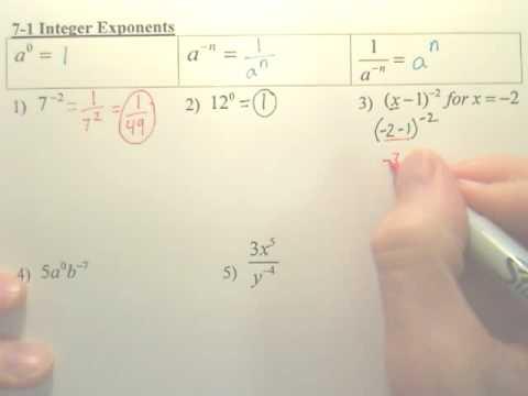 7.1 Integer Exponents - Algebra 1