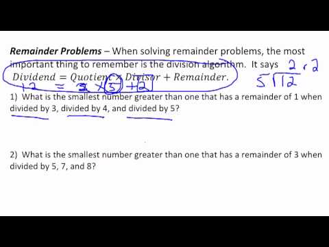 Remainder Problems