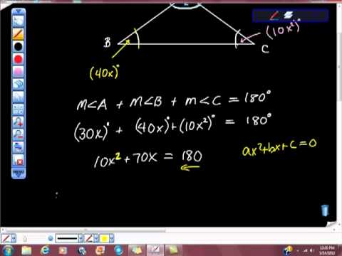 Geometry Triangle Sum Theorem Algebra Qudratic