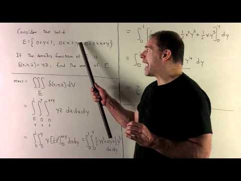 Mass of Solid as a Triple integral in Rectangular Coordinates