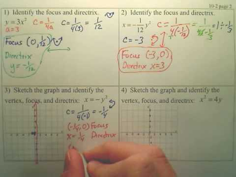 10.2 Parabolas Page 2 - Algebra 2