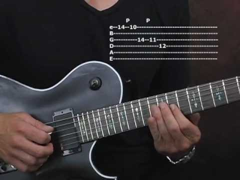 Guitar lesson string skipping major triads Paul Gilbert style electric shred rock with tabs