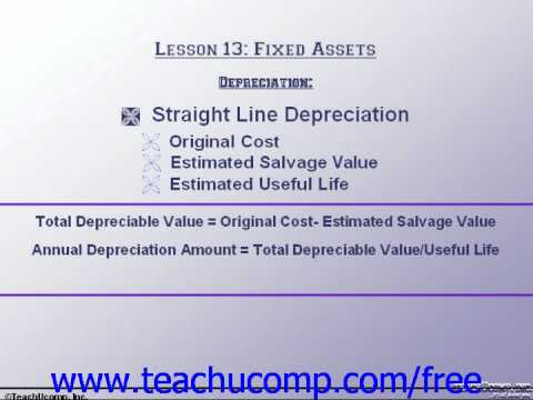 Accounting Tutorial Depreciation Training Lesson 13.1