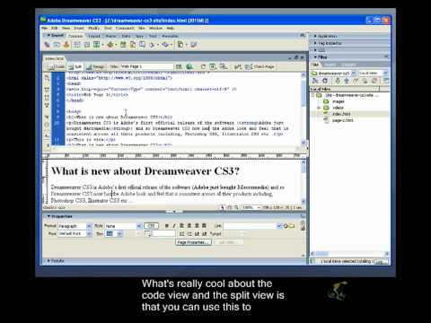 Dreamweaver CS3 Closed Captioned - The Three Editor Views