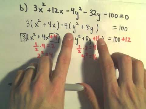 Identifying a Conic from an Equation by Completing the Square, Ex 3