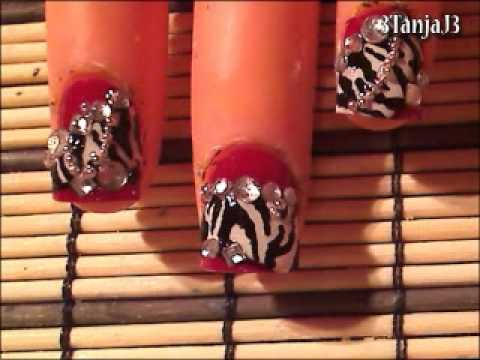 *Luxurious Zebra* Nail Art Design - Short Nails