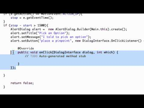 Android Application Development Tutorial - 134 - AlertDialog methods and ClickListener