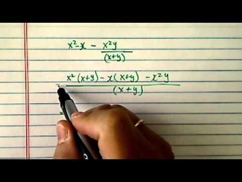 Simplify Polynomials: x^2- x - (x^2)(y)/(x+y)