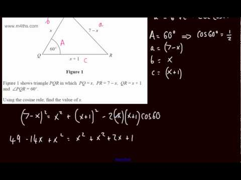 (q2) C2 Exam Practice 4 - LAST MINUTE REVISION ONLY - Cosine rule - Core 2 Edexcel