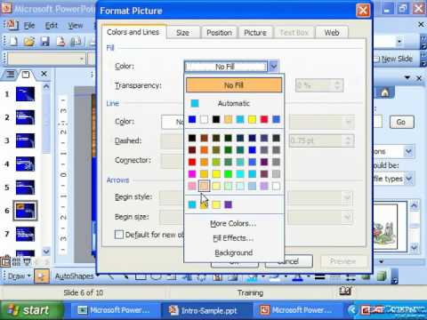 PowerPoint 2003 Tutorial Adding Fill Color & Lines to Clip Art Microsoft Training Lesson 9.3