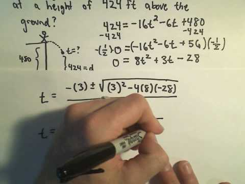 Solving a Projectile Problem Using Quadratics - Example 2