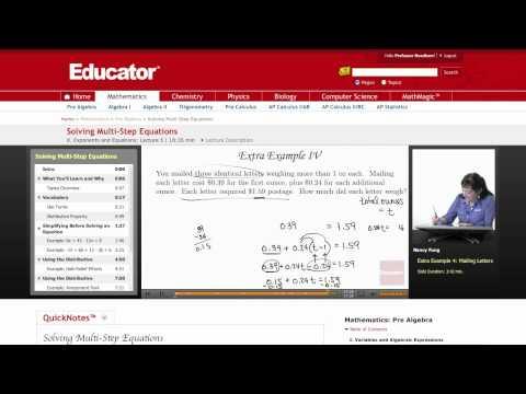 Pre Algebra: Multi Step Equations