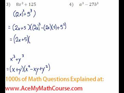 Polynomials - Factoring Two Cubes #3-4
