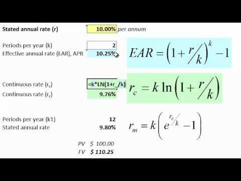 APR (EAR) versus stated versus continuous interest rates