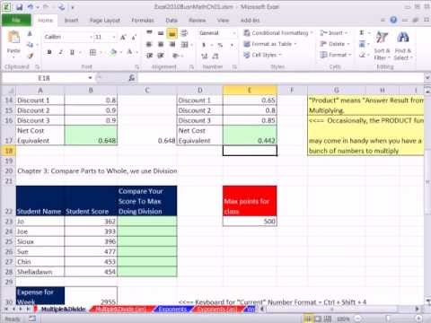 Excel 2010 Business Math 13: Multiplying and Dividing in Excel