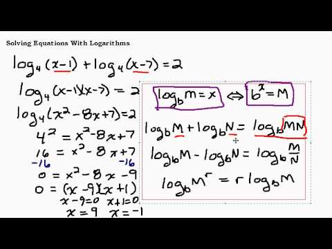Solving Equations With Logarithms Part II