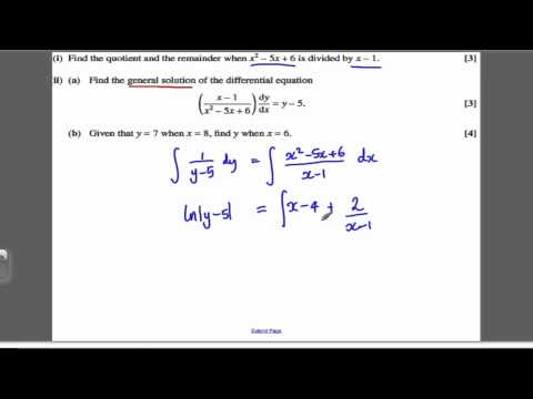 Core 4 OCR June 2010 Q8 - Differential Equations (8)