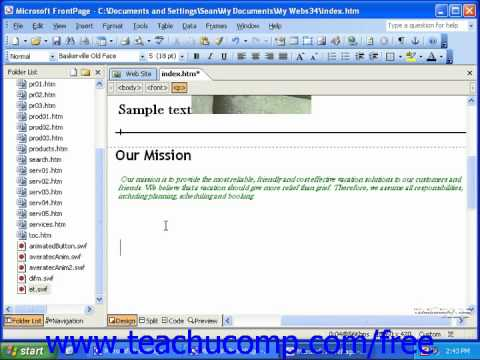 FrontPage Tutorial Cutting & Copying Page Contents Microsoft Training Lesson 4.3