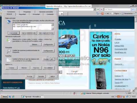 Configuración de inicio de Internet Explorer 7