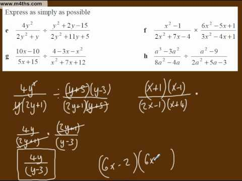 (f) Simplifying Algebraic Fractions Core 3 playlist (multiplication and division 2)