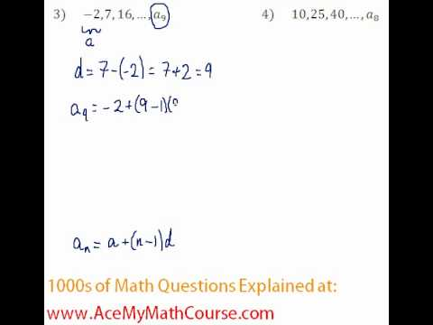 Arithmetic Sequences - Finding the Given Term #3-4