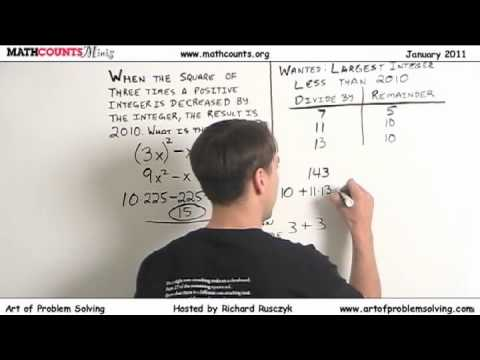 MATHCOUNTS Mini #14 - Number Sense/Riddles with Remainders and Perfect Squares
