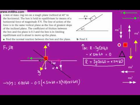 (13) Statics in Equilibrium - M1 Mechanics (Friction 3 - finding coefficient (inclined - harder)