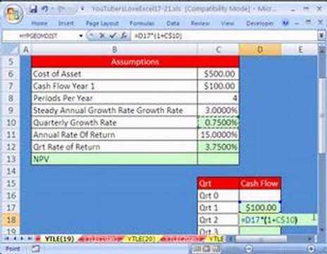 YouTubersLoveExcel#19: Steady Growth Cash Flow Formula
